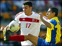 Servet Cetin is challenged by Victor Aristizabal