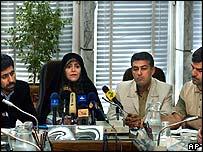 From left to right: Meysam Saeidi, Fatemeh Haqiqatjou, Reza Yousefian and Ali Akbar Mousavi Khoeini
