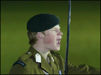 Prince Harry leading the Eton cadet force