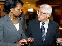 US national security adviser Condoleezza Rice (left) and Palestinian Prime Minister Abu Mazen in West Bank town of Jericho