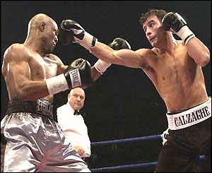 Joe Calzaghe lays into his oppenent with the jab