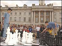 David Howell (left) plays Sergei Karjakin from the Ukraine