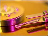 Close-up of hard disk platter, Eyewire