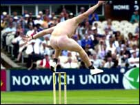 Streaker at cricket match