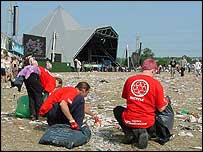 Glastonbury litter squad