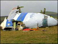 Restos del avi�n de Pan Am derribado sobre Lockerbie, Escocia, en 1988.