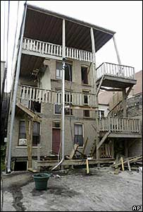 The scene of the balcony collapse, 29 June 2003