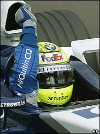 Ralf Schumacher celebrates his first win for more than a year