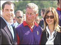 Prince Charles with actor John Travolta and his wife Kelly Preston at a charity polo match