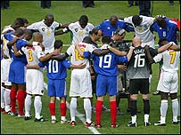 France and Cameroon players share a minute's silence for Marc-Vivien Foe