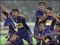 Boca Juniors celebrate after reaching the final of the Copa Libertadores