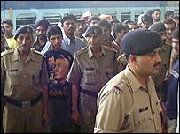 Police and officials at Delhi station