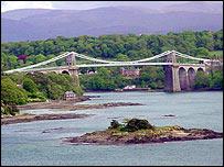 Menai bridge across straits