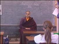 Buddhist monk Thubten  in a classroom