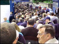 Cardiff City fans queueing for tickets