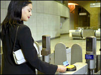 Woman with new Oyster card