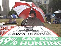 A pro-hunt protester takes shelter from the rain