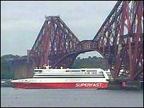 The Superfast Ferry sails from Rosyth