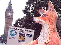 A giant paper mache fox is driven past Big Ben by the anti-hunting lobby