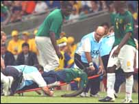 March-Vivien Foe is taken off after he collpased