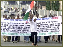 Nigerians protest in Abuja against massive fuel price increases