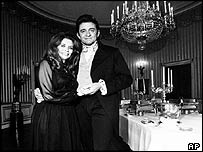 Johnny Cash and June Carter Cash in the Blue Room of the White House in 1970