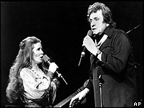 Johnny Cash and June Carter Cash in 1985