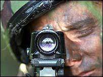 soldier at gun sight