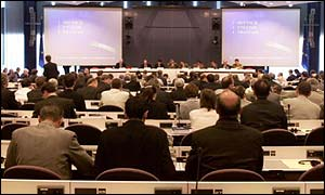 European Commission conference hall in Brussels