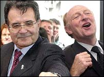 Romano Prodi and Neil Kinnock in Wales