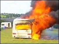 Joseph Smith's funeral caravan on fire