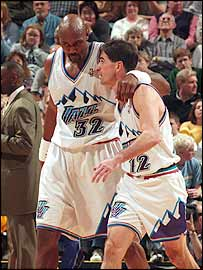 Karl Malone (left) and John Stockton