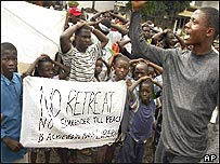 Liberians outside the US embassy threaten hunger strikes until it helps bring peace