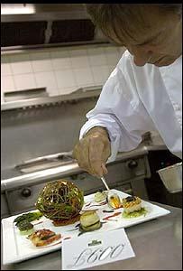 Raymond Blanc works on the salad