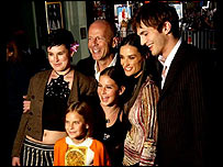 Moore, Willis, Kutcher and daughter