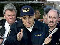 Former New York City police chief Bernard Kerik (far right) was a close colleague of the city's former mayor Rudi Giuliani