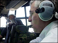 Jack Straw flies aboard a Hercules C-130 from Kabul to Kandahar