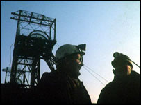 Miners at pithead   BBC
