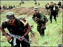 FARC rebels in training