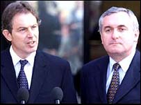 Tony Blair (right) and Bertie Ahern