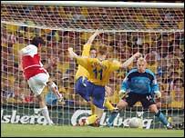 Robert Pires scores for Arsenal