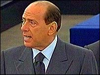 Silvio Berlusconi gives speech