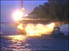 Piper Alpha oil platform disaster in the North Sea