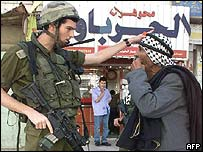 Israeli soldier and Palestinian argue in Hebron
