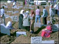 Algerian mourning at a graveyard