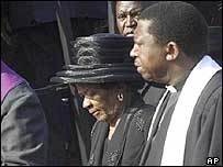 Albertina Sisulu at the funeral of her husband