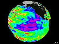 Graphic showing the El Nino phenomenon, AP