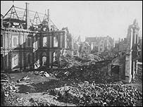 Bomb damage at Chartres