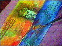Painted Ukrainian hryvnya note