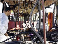 Israeli forensic expert examines the remains of the bus